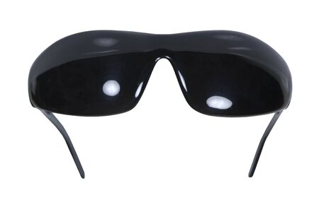 visually: Dark tinted blackout glasses for eye protection and to cover blind eyes - path included