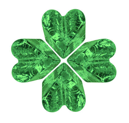 Green four leaf crystal clover symbolizing luck and posterity - path included