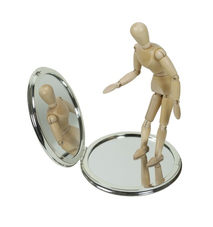 Wooden Model Observing Self in Compact Mirror - path included