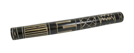 Old rustic wooden rainstick filled with pebbles and grains to make a sound similar to rain falling - path included