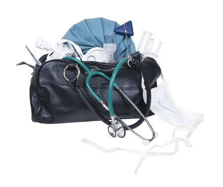 Old black medical bag with a variety of medical tools - path included
