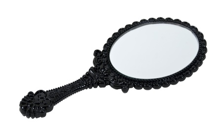 Black intricate hand mirror for beauty regiments - path included Stock Photo