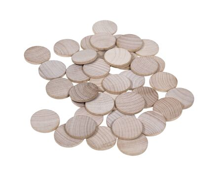 An array of blank wooden nickels with space for your symbol or image - path included