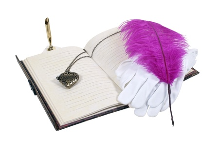 Love notes preparation with a heart pendant and a pair of white gloves and a feathered pen - path included