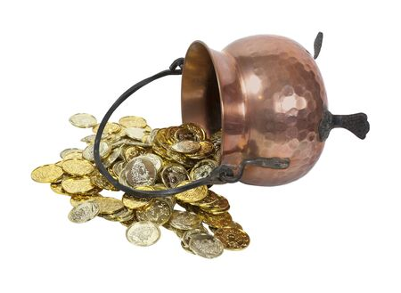 Pounded copper pot spilled over with gold coins