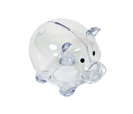 Clear piggy bank used to save change for a future purchase  Banco de Imagens