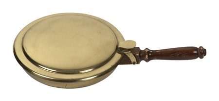 Brass and wood antique bed and sheet warmer
