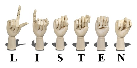 Listen spelled out in American Sign language is expressed with visible hand gestures for communication of the deaf