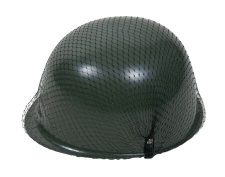 netting: Green military helmet with netting over it