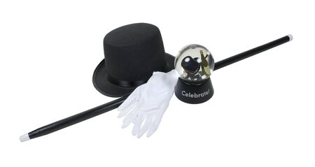 Celebrate New Year snow globe Top Hat and Cane with gloves - path included photo