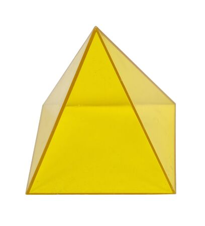 educational tools: Yellow pyramid Several geometric shapes used for educational purposes