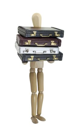 Choosing a career shown by a person holding a stack of briefcases - path included