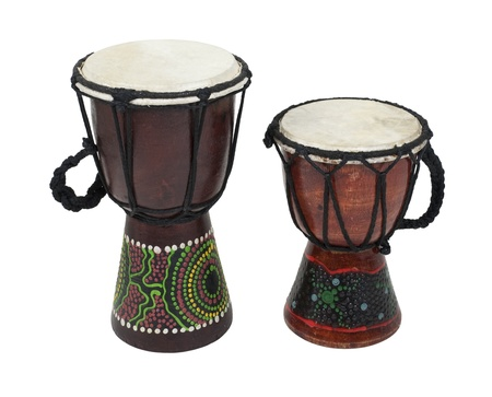 djembe: A pair of Aboriginal Djembe drums with handles - path included