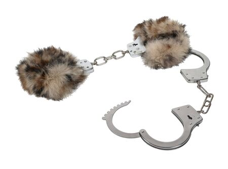 Fun lined handcuffs made of metal with mechanical clasp - path included photo