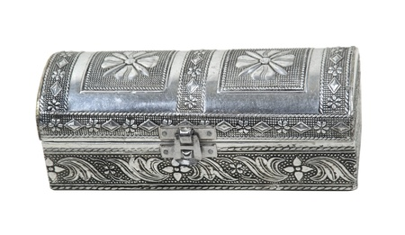 disclose: Intricate hammered silver box used to store special items - path included