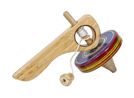 pull toy: Vintage peonza madera con asa y la cadena de cable - ruta incluido Foto de archivo