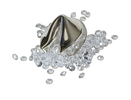 obtaining: Diamonds spilling out of a silver fortune cookie for obtaining the fortune of the future - path included Stock Photo