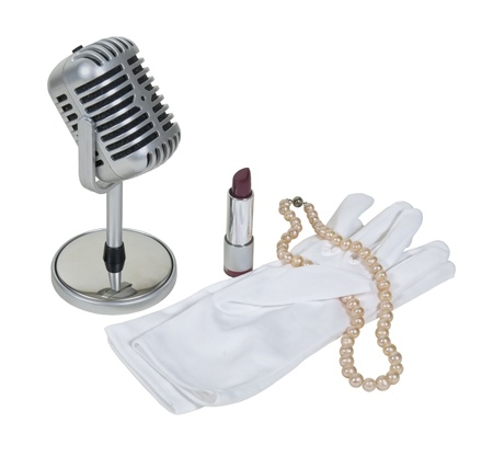 kareoke: Retro pill audio microphone with white gloves, pearls and lipstick - path included
