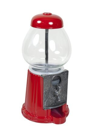 vending: Vintage metal and glass candy dispenser - path included Stock Photo