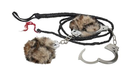 clasp: Leather braided whip with fur lined handcuffs made of metal with mechanical clasp - path included