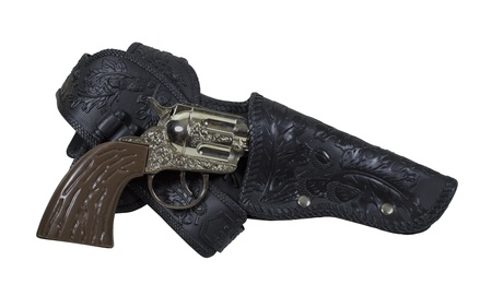 molded: Retro toy cowboy gun with molded bullets in the belt- path included