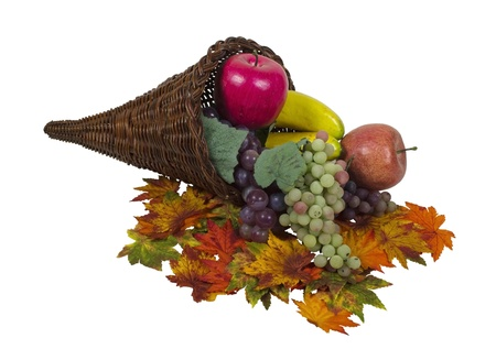 harvest cone cornucopia: Wicker horn cornucopia which is symbolic for plentiful abundance with colorful fruit and leaves - path included