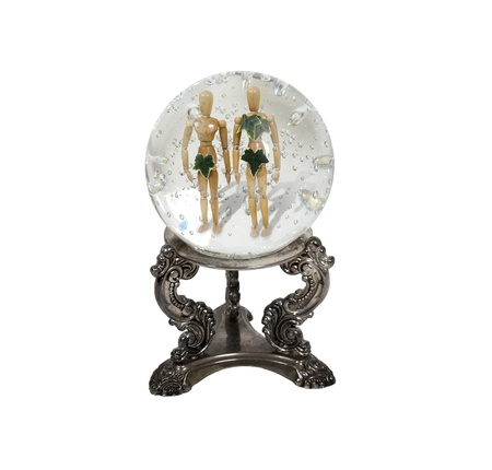 The future of humanity shown by a crystal ball with Adam and Eve inside - path included