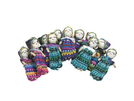 Group of friends don't worry shown by a scattering of Worry Dolls.  Confide to the worry dolls at night your worries to relieve yourself of stress, and have a good night's sleep - path included Stock Photo - 10725161
