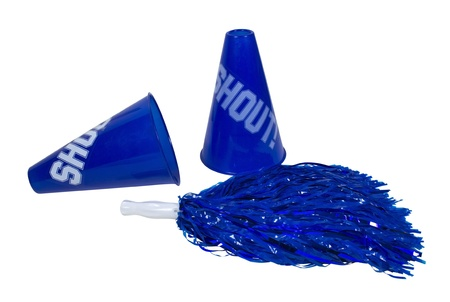 Megaphones and mom pom used for cheering on the team of choice - path included Stock Photo