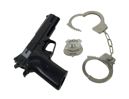 five stars: Silver special police badge with a star with gun and handcuffs - path included