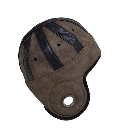 padding: Retro style helmet used for head protection during sports - path included Stock Photo