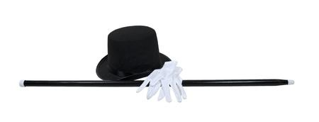 Hoge hoed met een zwarte stok en witte handschoenen voor een fomal gelegenheid - pad opgenomen Stockfoto - 10725128
