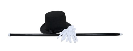 Top hat with a black cane and white gloves for a fomal occasion - path included Stock Photo - 10725128