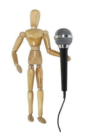 Model using a audio microphone used to amplify communication - path included