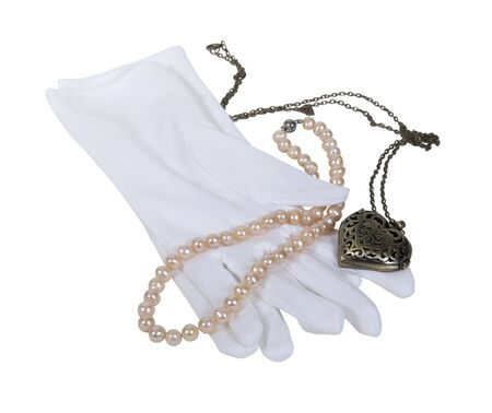 White gloves with pearls and a heart locket - path included