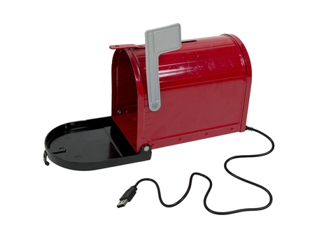 Email mailbox shown by open metal mailbox with signal flag upwards and USB cable