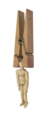 clamped: Personal stress shown by a wooden clothespin clamped on the head of a model