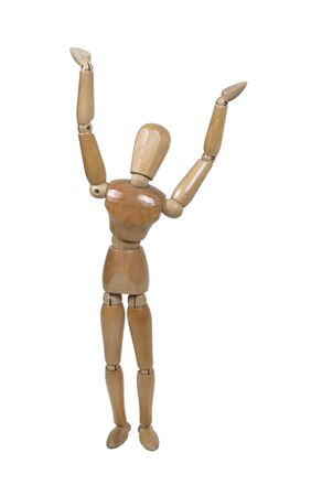 Wooden model representing a person stretching
