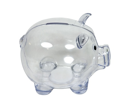 Clear piggy bank in profile used to save change for a future purchase  Banco de Imagens