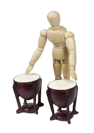 Playing wooden bomgo drums musical instruments with stands