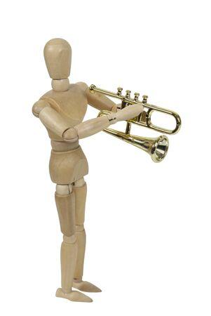 molded: Model playing a shiny simple molded trombone  Stock Photo