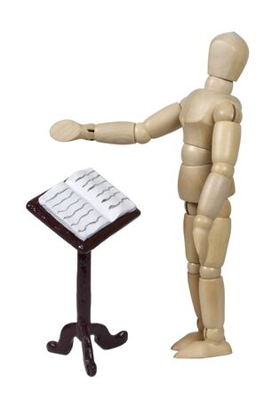 Reading music from a stand while conducting or singing Stock Photo - 10840500