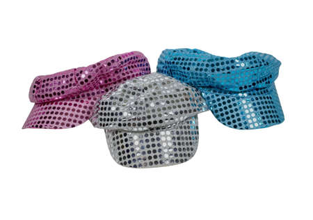 Red white and blue sparkle disco hats reminiscent of the disco era  Stock Photo