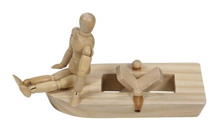 rubberband: Relajarse en una banda de caucho barco impulsado paleta de madera
