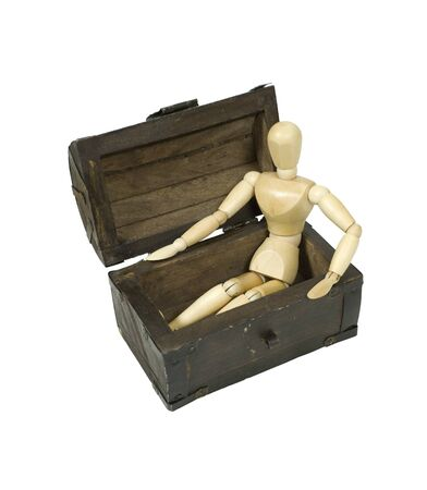 treasured: Model sitting in an antique wooden treasure chest