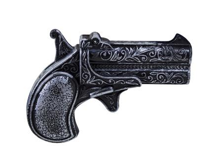 Small black toy pistol gun with silver highlights Reklamní fotografie