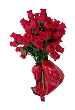 Tough love of roses shown by red boxing gloves holding a dozen red roses
