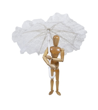 Model holding a white lace umbrella with a rounded handle