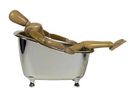 leaned: Leaned back in an antique silver claw footed bathtub - path included