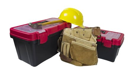 Toolboxes and hammer with leather tool belt and hard hat - path included